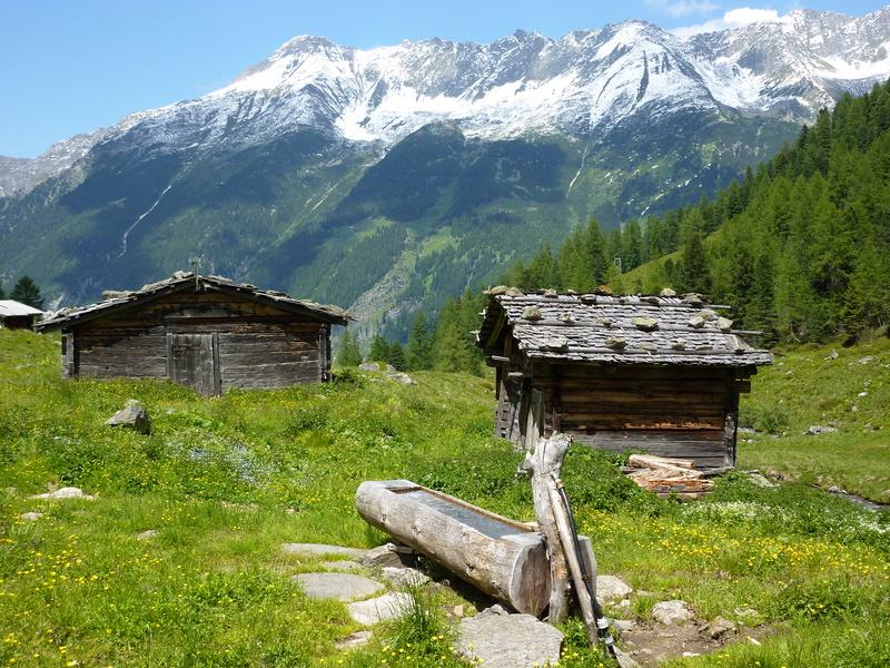 Almhütten mit Holzbrunnen